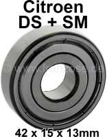 Flywheel bearing (closed version), suitable for Citroen DS + SM. The bearing is supplied without retaining ring. Dimension: 42 x 15 x 13mm. - 30050 - Der Franzose