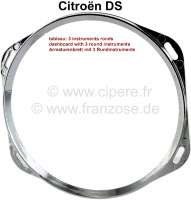 Chrome trim (from synthetic) for the round instruments of the dashboard (as substitute for the old trim). Suitable for Citroen DS, starting from year of construction 09/1969 (final version dashboard). - 38605 - Der Franzose