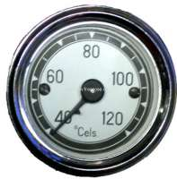 Water temperature display 120°C. Dial in white. Diameter: 52mm. Suitable for Citroen 11CV + 15CV. - 60102 - Der Franzose