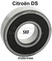 Camshafts bearing in front (1 item/SKF), suitable for Citroen DS. Dimension: 47x20x14 mm (ball bearing closed). Manufacturer: SKF | 30360 | Der Franzose - www.franzose.de