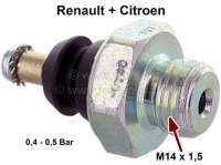 Oil pressure switch. Thread: M14 x 1,5. Response pressure: 0,5 bar. Suitable for Renault R3 + R4 (747cc), from year of construction 1962 to 1967. Renault Dauphine + Floride. Citroen HY petrol. - 81035 - Der Franzose