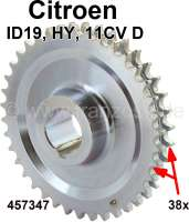 Spur gear largely. 38 teeth. 27,6mm. Suitable for Citroen 11CV D, starting from year of construction 10/1954. Citroen ID 19 + HY. Or. No. 457347 | 60914 | Der Franzose - www.franzose.de