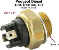 Temperature switch coolant. 88°-75°. Thread: M22x1,5. Suitable for Peugeot diesel engines, XD88, XD90, XD2 XD3 (Peugeot 404, 505, 604, Citroen HY). - 72051 - Der Franzose