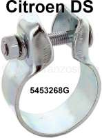 Exhaust clip, for the flexible exhaust pipe, connection to the main silencer. Diameter: 48,5mm. Suitable for Citroen DS. Or. No. 5453268G - 32243 - Der Franzose