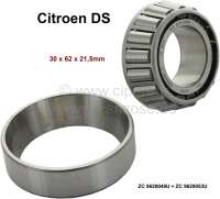 Swing arm bearing outside (nut side) for the front lower swing arm + swing arm rear. Suitable for Citroen DS. Dimension: 30 x 62 x 21,5mm. Or. No. ZC 9620049 U + ZC 9629053 U - 33150 - Der Franzose