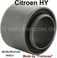 Wishbone bonded-rubber bushing. Suitable for Citroen HY. Dimension: 56 x 38 x 36 x 47mm. Or. No. H4333 - 48192 - Der Franzose