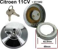 Fuel filler cap chromium-plates lockable. Suitable for Citroen 11CV, to year of construction 07/1952. Caution: close and open by only 1/4 turn. Not more, otherwise the closing teeth (pin) can be damaged!   60399   Der Franzose - www.franzose.de