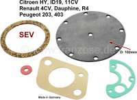 Gasoline pump (SEV) repair set. Diaphragm diameter: 102mm. Suitable for Citroen 11CV, 15CV. Citroen HY, ID19. Renault Dauphine, 4CV, R4. Peugeot 203 + 403. Please observe the diameter! Made in Germany. - 60404 - Der Franzose