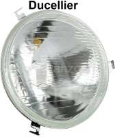 P 403/404/DS, H4 headlight insert. Version DUCELLIER. Suitable for Peugeot 403 + 404. Citroen DS, to year of construction 1967. 180mm diameter. The headlamp has 3x securement. Mounting for H4 bulb, thereby substantially better light! Reproduction without approvals! - 75132 - Der Franzose