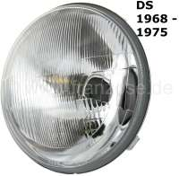 Main headlight H4. Suitable for Citroen DS, starting from year of construction 1968. Diameter over everything: 190mm. Good reproduction. Or. No. DX541-4WDX - 37030 - Der Franzose
