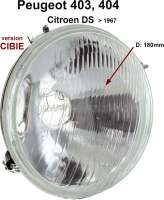 P 403/404/DS, H4 headlight insert. Version CIBIE. Suitable for Peugeot 403 + 404. Citroen DS, to year of construction 1967. 180mm diameter. The headlamp has 2x securement + 2x bracket. Mounting for H4 bulb, thereby substantially better light! Reproduction without approvals! - 75134 - Der Franzose