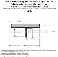Distributor arm RB, small version. Suitable for 11CV, Peugeot, Renault. Length over everything: 37mm. Height over everything: 17mm. Inside diameter 14mm. -2 - 72783 - Der Franzose