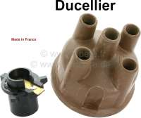 Ducellier, distributor cap + distributor arm. Suitable for Citroen DS, from of year of construction 10/1959 to 04/1966. Citroen HY. Renault Alpine 1300, from of year of construction 01/74 to 12/75. Peugeot 204 + 304, 404, 504. Renault R4, R5, R6, R10, R12, R15, R16, R17, R20. Height over everything: 65mm. Inside diameter: 65mm. - 82633 - Der Franzose