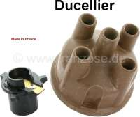 Ducellier, distributor cap + distribution arm. Suitable for Citroen DS, of year of construction 10/1959 to 04/1966. Citroen HY. Renault Alpine 1300, of year of construction 01/74 to 12/75. Peugeot 204 + 304, 404, 504. Renault R4, R5, R6, R10, R12, R15, R16, R17, R20. Height over everything: 65mm. Inside diameter: 65mm. | 82633 | Der Franzose - www.franzose.de