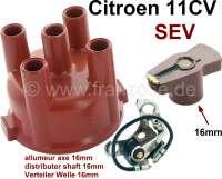 SEV, ignition set for SEV distributer, with 16mm shaft. Consisting of: Ignition contact, distribution arm, distributer cap. Suitable for Citroen 11CV. | 60917 | Der Franzose - www.franzose.de