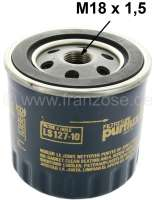 Oil filter LS127. Suitable for Peugeot Diesel + Citroen HY Diesel. Peugeot 204D, starting from year of construction 10/1969. 304D, 403D, 404D starting from year of construction 10/1969, 504 D. Height: 88mm. Outside diameter: 86mm. Thread: M18x1,5. Or. No. 1109.35 - 71122 - Der Franzose