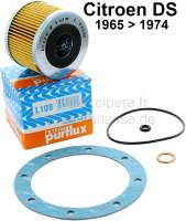 Oil filter set for Citroen DS, starting from year of construction 1965. Consisting of oil filter Purflux, oil drain seal, seal heavily for cap, O-ring largely, O-ring small. - 31224 - Der Franzose