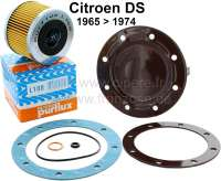 Oil filter set for Citroen DS, starting from year of construction 1965. Consisting of oil filter Purflux, Lid in the oil pan, oil drain seal, seal heavily for cap, O-ring largely, O-ring small. - 31327 - Der Franzose