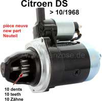 Starter for Citroen DS, 10 teeth, with magnetic switch (new part). Built up to 09/1968. The starter motor can also be used with Citroen DS, which does not has a magnetic switch on the starter motor. Therefore either only the magnetic switch is bridged, or it is controlled with the relay at the battery. This additionally protects the expensive battery relay. - 34098 - Der Franzose