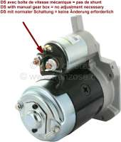 Starter motor, 9 teeth. With magnetic starter switch. Suitable for Citroen DS. High rotation speed. New part! No old part return necessarily! If you have a Citroen DS with starting relays at the battery (Pallas), you can trigger the magnetic starting switch simply with the relay! -2 - 34002 - Der Franzose