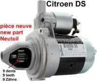 Starter motor, 9 teeth. With magneto starting switch. Suitable for Citroen DS. High rotating speed. New part! No old part return necessarily! If you have a Citroen DS with starting relays at the battery (Pallas), you can trigger the magneto starting switch simply over the relay! | 34002 | Der Franzose - www.franzose.de