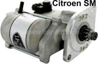 SM, starter motor new part. 12 V. Suitable for Citroen SM. Specialy produced. An old part return is not necessary! Depending upon version, the oval adapter plate must be rotated in front at the starter motor (main securement). For this, the two screws at the starter head (pinion lateral) unscrew and infer. After this, the mounting plate twist in the position, where the starter motor fits. Now mount the screws again. Ready to start! | 32441 | Der Franzose - www.franzose.de