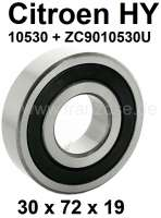 Differential bearing outside (cardan). Suitable for Citroen HY, all years of construction. Dimension:  30 x 72 x 19. Or. No. 10530 + ZC9010530U | 44861 | Der Franzose - www.franzose.de