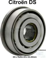 Double ball bearing, for 5 speed gearbox (front side shaft, between 4 + 5 speed). Suitable for Citroen DS. Dimensions: 30 x 76/82,55 x 33,40mm. Or. No. ZC9620333 - 31315 - Der Franzose