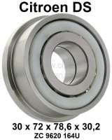 Double ball bearing, for the primary shaft rear. Suitable for Citroen DS, with 4 gear gearbox. Dimension: 30 x 72 x 78.6 x 30,2. Or. No. ZC9620164U - 31197 - Der Franzose