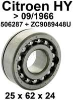 Gearbox bearing above (primary shaft). Suitable for Citroen HY, of year of construction 1948 to 09/1966. Dimension: 25 x 62.0 x 24mm. Or. No. 506287 + ZC9089448U | 44858 | Der Franzose - www.franzose.de