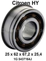 Gearbox bearing above. Suitable for Citroen HY, starting from year of construction 01/1972. Dimension: 25 x 62.0 x 67.2 x 25,4mm. Or. No. 1G 5437164J | 48106 | Der Franzose - www.franzose.de
