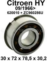 Gearbox bearing lower (jackshaft). Suitable for Citroen HY, starting from year of construction 09/1966. Dimension: 30 x 72.0 x 78.5 x 30,2mm. Or. No. ZC9620286U + 620010 - 48112 - Der Franzose