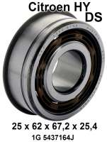 Gearbox bearing on top, front (primary shaft). Suitable for Citroen HY, from year 01/1972. Citroen DS (4 speed gearbox), from year 11/1971. Dimensions: 25 x 62,0 x 67 x 25,4mm. Or. No. 1G 5437164J - 48106 - Der Franzose