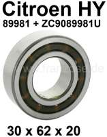 Gearbox bearing for the primary shaft (the front of the two rear bearings). Suitable for Citroen HY, all years of construction. Dimension: 30 x 62 x 20. Or. No. 89981 + ZC9089 981 U. - 44856 - Der Franzose