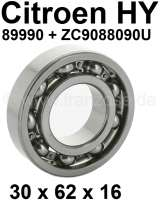 Gearbox bearing for the primary shaft (the rear of the two rear bearings). Suitable for Citroen HY, all years of construction. Dimension: 30 x 62 x 16. Or. No. 89990 + ZC9088 090 U. - 44857 - Der Franzose