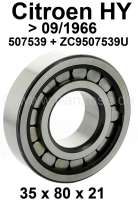 Gearbox bearing, for the shaft for the bevel gear. Suitable for Citroen HY, to year of construction 09/1966. Dimensions: 35 x 80 x 21. Attention: This bearing has been reproduced like the original bearing. It is not a standard bearing as it is often offered! Or. No. 507539 + ZC9507 539U. Made in France. - 44859 - Der Franzose