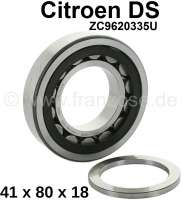 Roller bearing in front, for the gear shaft. 4/5 gear. Suitable for Citroen DS, with 5 gear gearbox. Dimension: 41x80x18mm.  Or. No. ZC9620335U - 30299 - Der Franzose