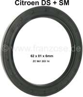 Wheel bearing shaft seal rear. Suitable for Citroen DS + SM. Seal drum with wheel bearing to the radius arm. Dimension: 62x81x6mm. Or.Nr. ZC 9612 5314 | 32015 | Der Franzose - www.franzose.de