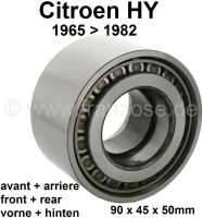 Wheel bearing, suitable for Citroen HY, of year of construction 1965 to 1982. In front or rear fitting! Per piece. Outside diameter: 90,0mm. Inside diameter: 45,0mm. Overall height: 50,0mm - 43071 - Der Franzose