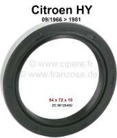 Shaft seal outside, for the wheel bearing. Suitable for Citroen HY, starting from year of construction 09/1966 to 1981. Dimension: 54 x 72 x 10,0mm. Or. No. ZC 9612 540U - 48023 - Der Franzose