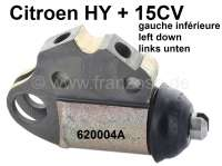 Wheel brake cylinder in front on the left, down. Suitable for Citroen HY + Citroen 15CV. Piston diameter: 32,0mm. Brake line connector: M12x1mm. Or. No. 620004A. - 48037 - Der Franzose