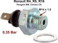 Oil pressure switch. Thread: M14 x 1,5. Response pressure: 0,2 to 0.45 bar. Suitable for Renault R4 (starting from year of construction 1967), R5, R16. Citroen CX1 2000-2200, CX2 20RE. Peugeot 505,2,0 + 2,2. | 81028 | Der Franzose - www.franzose.de