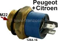 Temperature switch coolant, 3 connections. Thread: M22. Switching point: 84-79° + 88-83°. Suitable for Citroen BX Diesel, C15 Diesel, VISA GTI. Peugeot 205 (1,3L), 205 Diesel, 205 II (1.2 + 1.6), 504 Diesel (2.3 + 2,5L), 505 Diesel. Or. No. 1264.16 - 72697 - Der Franzose