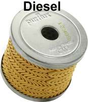 Diesel filter C112 (injection pump Bosch). Suitable for Peugeot 204, 304, 403, 404, 504. Citroen HY Diesel. CX Diesel, Visa Diesels. Height: 51mm. Outside diameter: 65mm. Inside diameter: 14mm. Or. No. 1906.02 - 72071 - Der Franzose