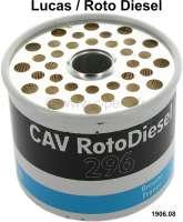 Diesel filter (cartridge) C157A (injection pump Lucas/Roto Diesel). Suitable for Peugeot 404, 504, J7. Citroen HY Diesel. CX Diesel, Visa Diesel. Height: 73mm. Or. No. 1906.08 - 72074 - Der Franzose