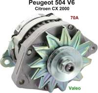 P 504/CX, generator (with integrated battery charging regulator). Suitable for Peugeot 504 V6 (Coupe + Cabrio). Citroen CX 2000, starting from year of construction 1979. 12 V. 70 ampere, double arm. Assembly position: 20°. Plus Old part deposit 100 Euro. - 72122 - Der Franzose