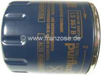 Oil filter LS867B Peugeot + Citroen Diesel. Peugeot 504 D, 205 D. Citroen CX D, Bx D. engines: TU/TUD/XU/XUD. Height: 79mm. Outside diameter: 76mm. Thread: M20x1,5. Or. No. 1109.N2 -1 - 71123 - Der Franzose