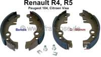 Brake shoes rear (1 set). Brake system: Bendix. Suitable for Renault R4, R5. Citroen Visa. Peugeot 104. Drum diameter: 180mm. Lining-wide: 32mm. Made in Europe. - 84036 - Der Franzose