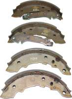 Brake shoes rear (1 set). Brake system: Lucas Girling. Suitable for Renault R4, R5. Peugeot 104. Citroen LNA, Visa. Drum diameter: 180mm. Lining-wide: 32mm. Original equipment quality. -1 - 84052 - Der Franzose