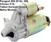 P 205/C15/Talbot, starter motor Peugeot 205 with engine E1A. (from 1984 to 1987, engine 1,1, 1,2, 1,3, 1,4). Citroen C15 1,1 + 1,3, Talbot Horizon, Solara, Matra Murena. 9 teeth, 3 hole securement, direction of rotation in the clockwise direction. - 72891 - Der Franzose